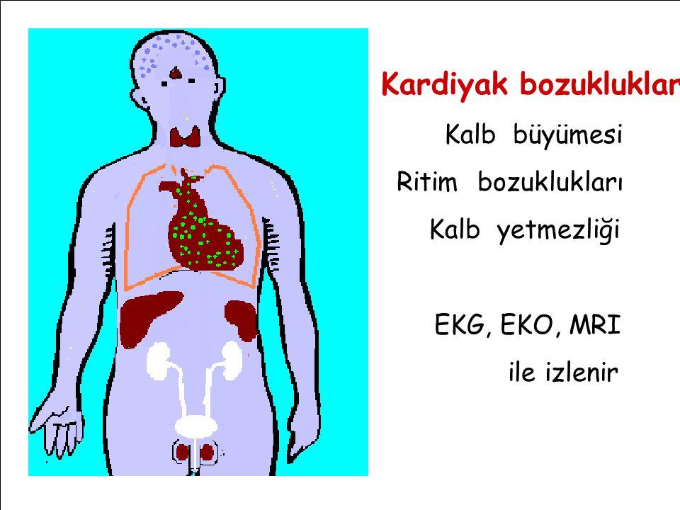 Kardiyak bozukluklar Kalb büyümesi Ritim bozuklukları Kalb yetmezliği EKG, EKO, MRI ile izlenir