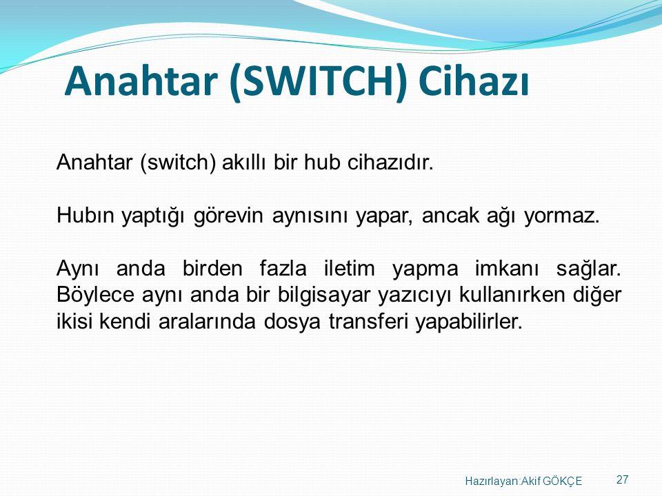 27 Hazırlayan:Akif GÖKÇE Anahtar (SWITCH) Cihazı Anahtar (switch) akıllı bir hub cihazıdır. Hubın yaptığı görevin aynısını yapar, ancak ağı yormaz. Ay