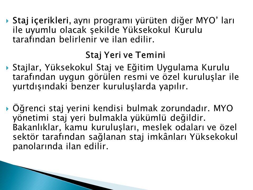  Staj içerikleri, aynı programı yürüten diğer MYO' ları ile uyumlu olacak şekilde Yüksekokul Kurulu tarafından belirlenir ve ilan edilir. Staj Yeri v