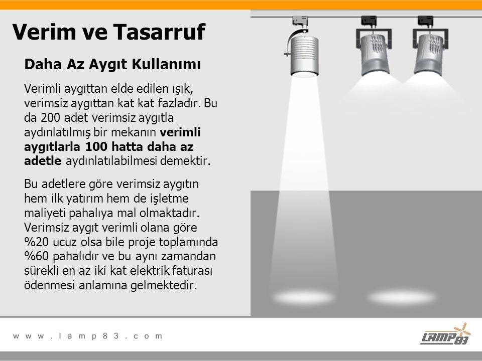 Daha Az Aygıt Kullanımı Verimli aygıttan elde edilen ışık, verimsiz aygıttan kat kat fazladır. Bu da 200 adet verimsiz aygıtla aydınlatılmış bir mekan