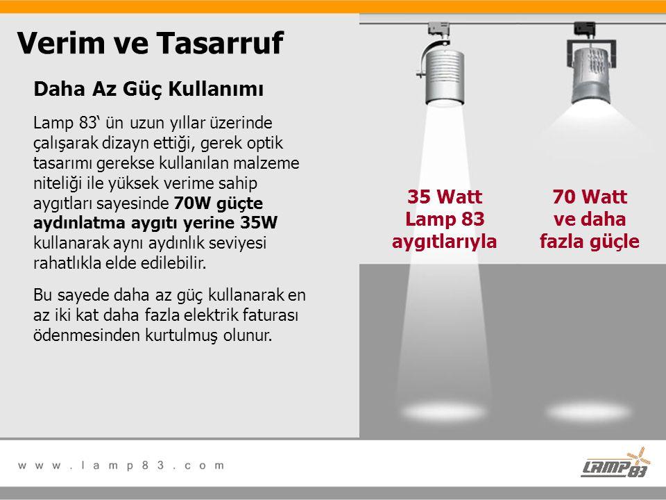 Daha Az Güç Kullanımı Lamp 83' ün uzun yıllar üzerinde çalışarak dizayn ettiği, gerek optik tasarımı gerekse kullanılan malzeme niteliği ile yüksek ve