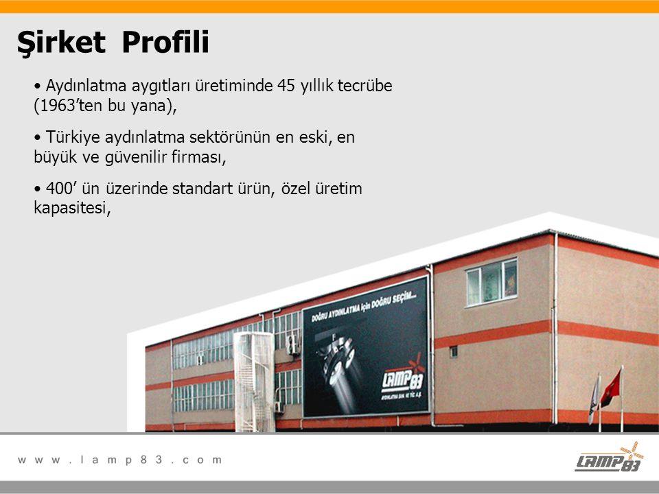 Şirket Profili • Aydınlatma aygıtları üretiminde 45 yıllık tecrübe (1963'ten bu yana), • Türkiye aydınlatma sektörünün en eski, en büyük ve güvenilir