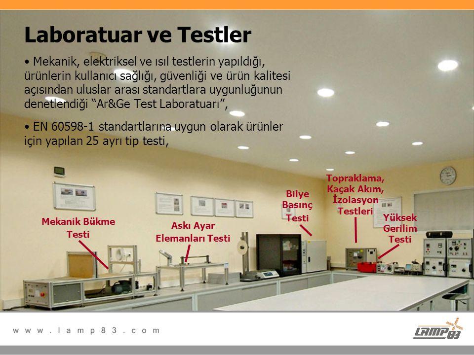 Laboratuar ve Testler • Mekanik, elektriksel ve ısıl testlerin yapıldığı, ürünlerin kullanıcı sağlığı, güvenliği ve ürün kalitesi açısından uluslar ar