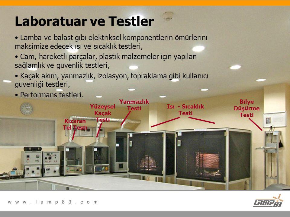 Laboratuar ve Testler • Lamba ve balast gibi elektriksel komponentlerin ömürlerini maksimize edecek ısı ve sıcaklık testleri, • Cam, hareketli parçala
