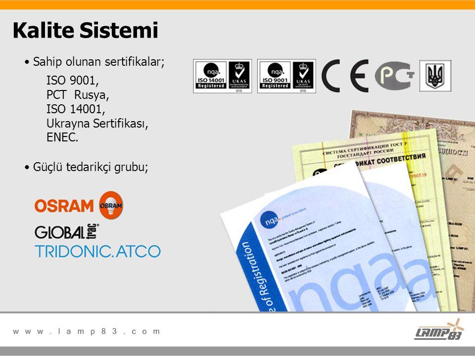 Kalite Sistemi • Sahip olunan sertifikalar; ISO 9001, PCT Rusya, ISO 14001, Ukrayna Sertifikası, ENEC. • Güçlü tedarikçi grubu;