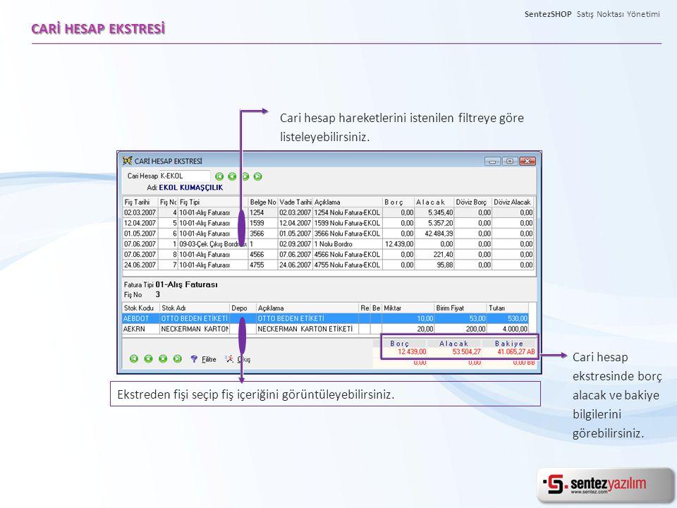 Cari hesap fişlerinize alfa nümerik ve nümerik özel kodlar tanımlayabilir, bu bazda detaylı raporlar alabilirsiniz.