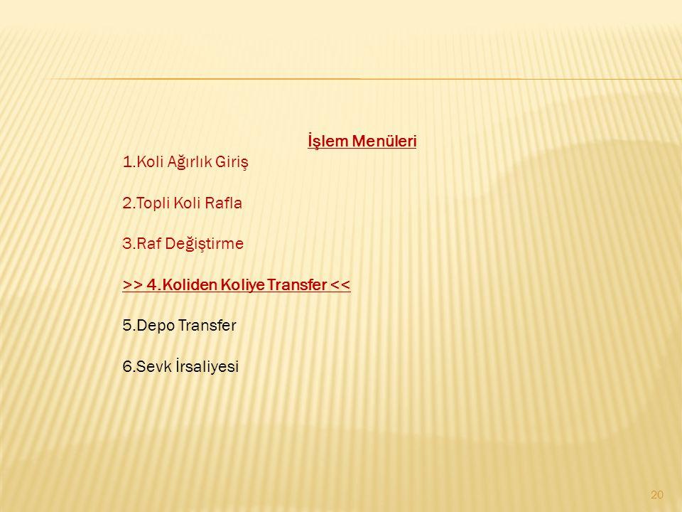 20 İşlem Menüleri 1.Koli Ağırlık Giriş 2.Topli Koli Rafla 3.Raf Değiştirme >> 4.Koliden Koliye Transfer << 5.Depo Transfer 6.Sevk İrsaliyesi