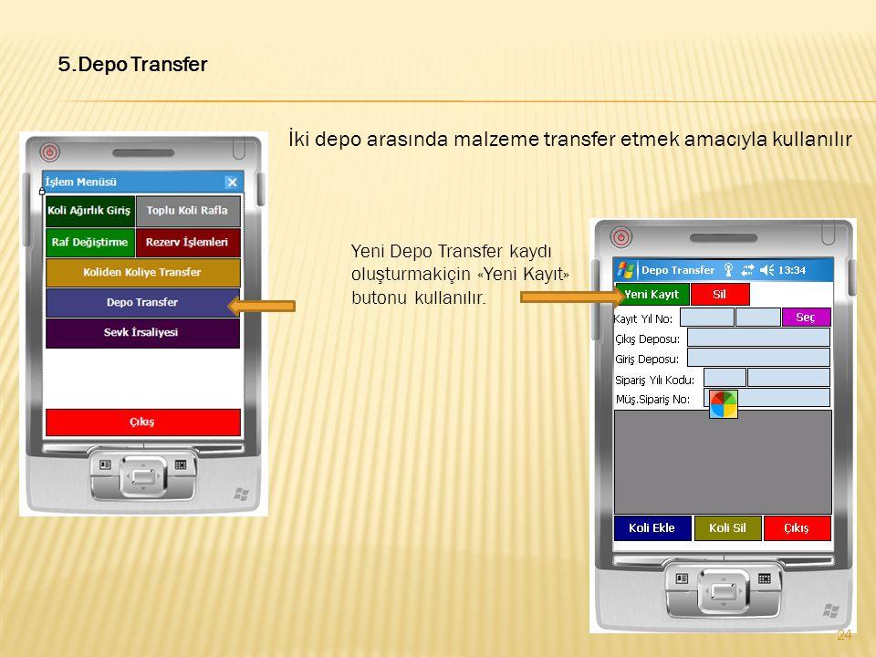 5.Depo Transfer İki depo arasında malzeme transfer etmek amacıyla kullanılır Yeni Depo Transfer kaydı oluşturmakiçin «Yeni Kayıt» butonu kullanılır. 2