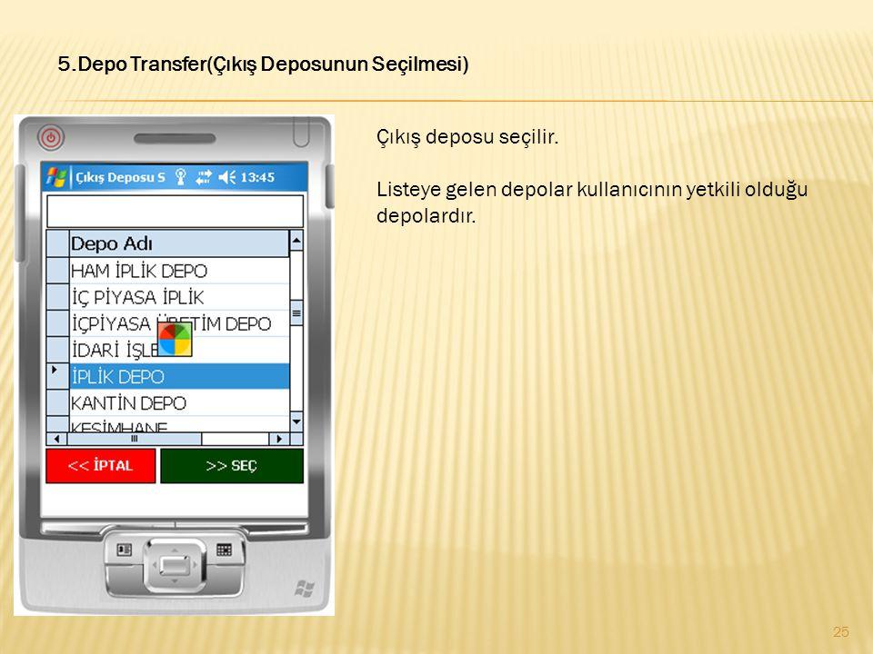 5.Depo Transfer(Çıkış Deposunun Seçilmesi) Çıkış deposu seçilir. Listeye gelen depolar kullanıcının yetkili olduğu depolardır. 25