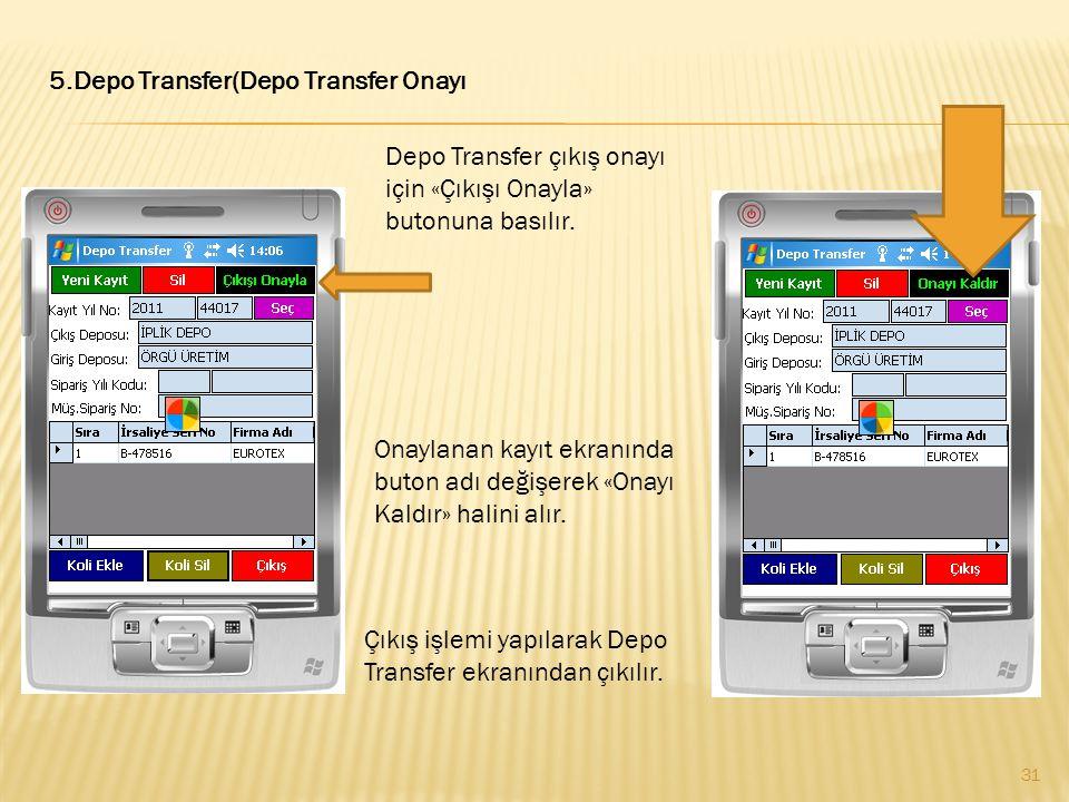 5.Depo Transfer(Depo Transfer Onayı Depo Transfer çıkış onayı için «Çıkışı Onayla» butonuna basılır. Onaylanan kayıt ekranında buton adı değişerek «On