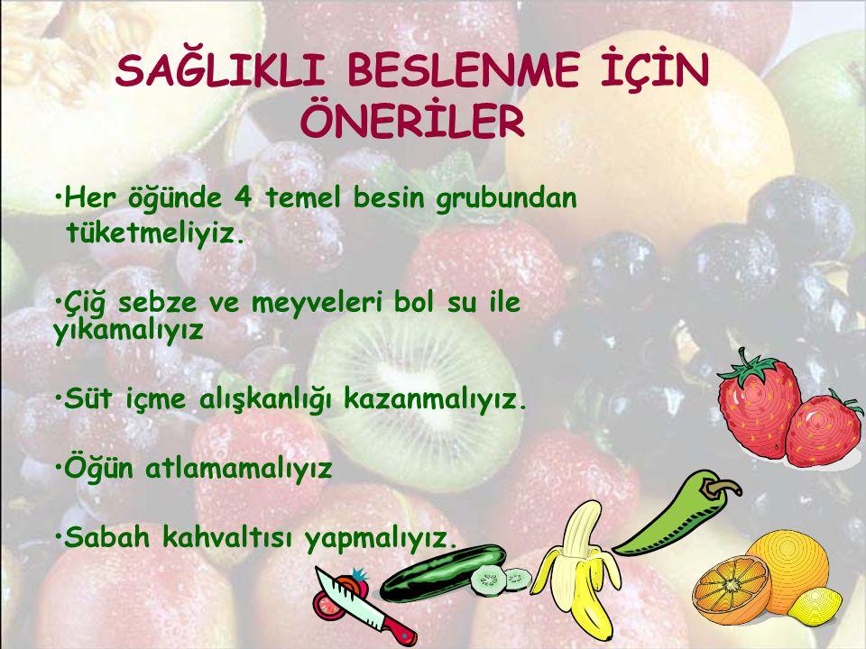 SAĞLIKLI BESLENME İÇİN ÖNERİLER •Her öğünde 4 temel besin grubundan tüketmeliyiz. •Çiğ sebze ve meyveleri bol su ile yıkamalıyız •Süt içme alışkanlığı