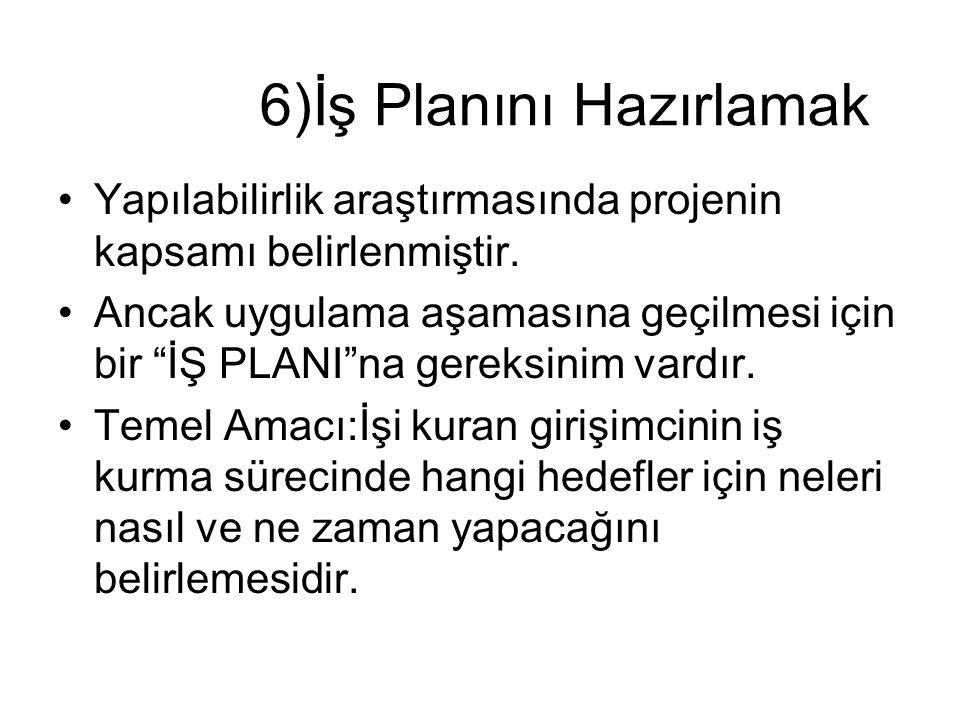 """6)İş Planını Hazırlamak •Yapılabilirlik araştırmasında projenin kapsamı belirlenmiştir. •Ancak uygulama aşamasına geçilmesi için bir """"İŞ PLANI""""na gere"""