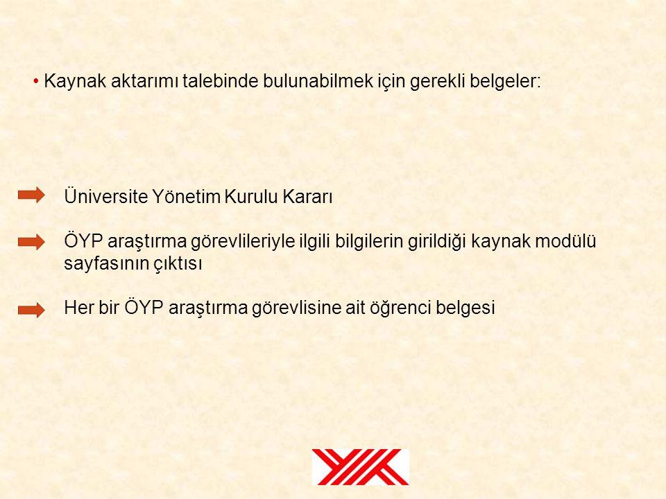 Üniversite Yönetim Kurulu Kararı ÖYP araştırma görevlileriyle ilgili bilgilerin girildiği kaynak modülü sayfasının çıktısı Her bir ÖYP araştırma görev