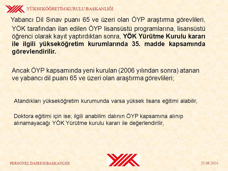 Yabancı Dil Sınav puanı 65 ve üzeri olan ÖYP araştırma görevlileri, YÖK tarafından ilan edilen ÖYP lisansüstü programlarına, lisansüstü öğrenci olarak