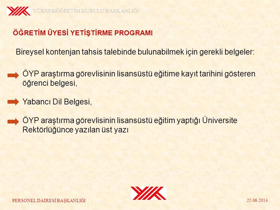 Yabancı Dil Sınav puanı 65 ve üzeri olan ÖYP araştırma görevlileri, YÖK tarafından ilan edilen ÖYP lisansüstü programlarına, lisansüstü öğrenci olarak kayıt yaptırdıktan sonra, YÖK Yürütme Kurulu kararı ile ilgili yükseköğretim kurumlarında 35.