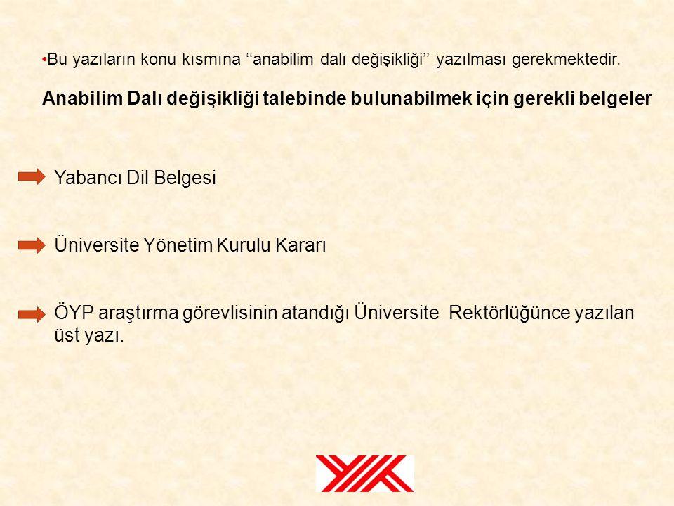Yabancı Dil Belgesi Üniversite Yönetim Kurulu Kararı ÖYP araştırma görevlisinin atandığı Üniversite Rektörlüğünce yazılan üst yazı. Anabilim Dalı deği