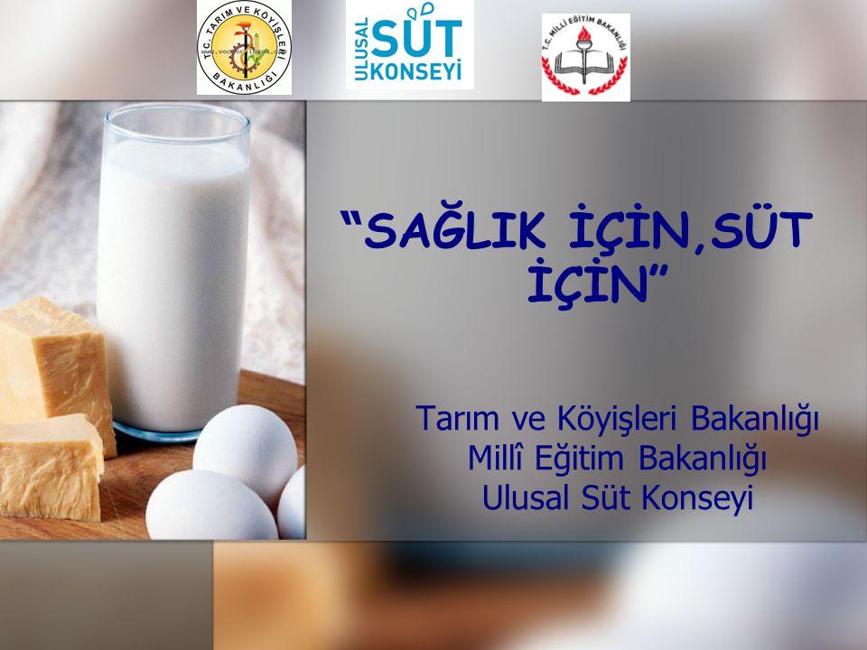 """"""" SAĞLIK İÇİN,SÜT İÇİN"""" Tarım ve Köyişleri Bakanlığı Millî Eğitim Bakanlığı Ulusal Süt Konseyi"""