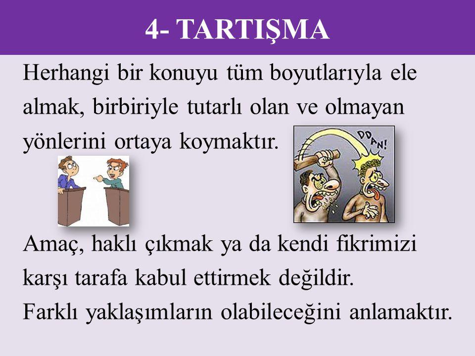 4- TARTIŞMA Herhangi bir konuyu tüm boyutlarıyla ele almak, birbiriyle tutarlı olan ve olmayan yönlerini ortaya koymaktır. Amaç, haklı çıkmak ya da ke