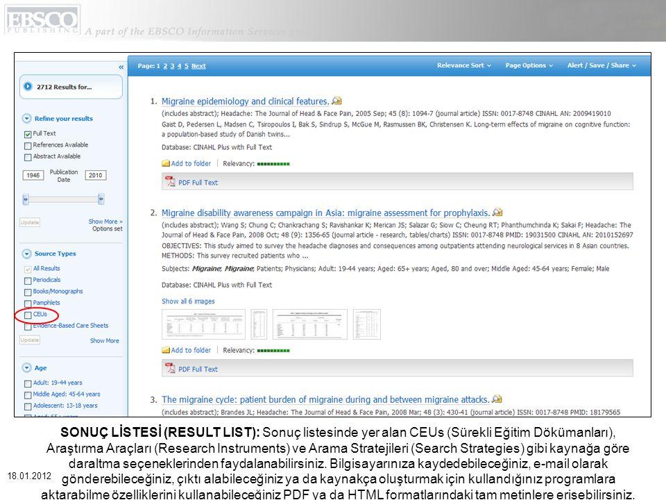 KLASÖRLER (FOLDERS): Sonuçları geçici oturum klasöründe depolamak için Klasöre ekle (Add to folder) linkine tıklayınız.