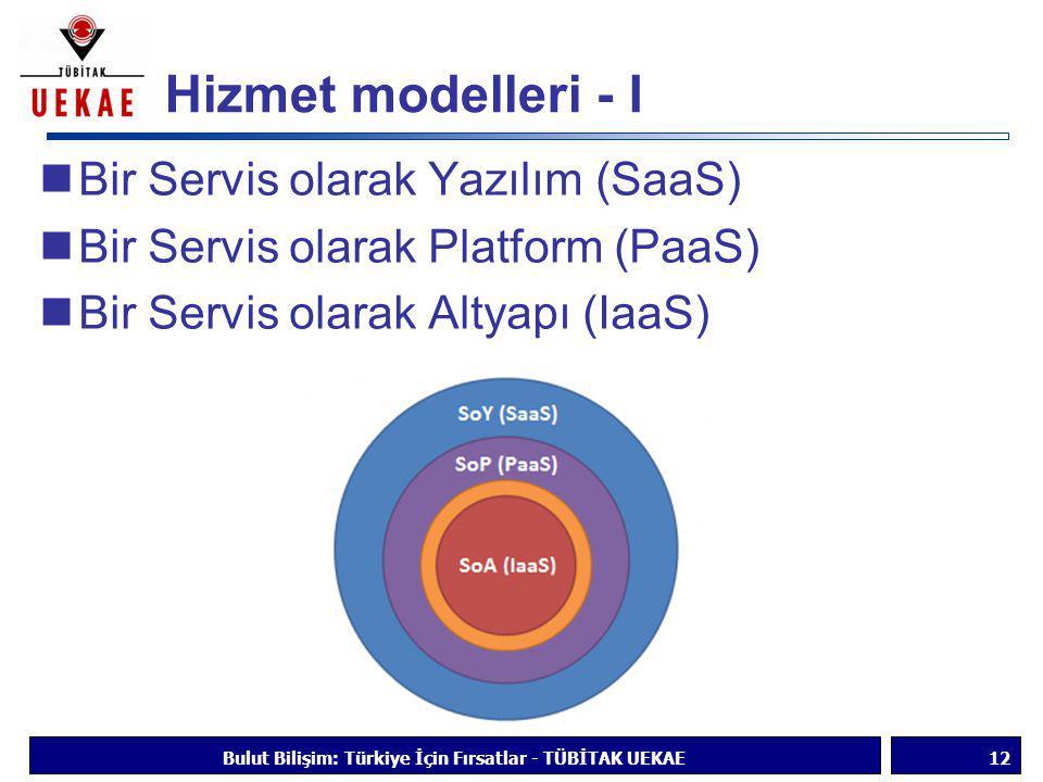 Hizmet modelleri - I  Bir Servis olarak Yazılım (SaaS)  Bir Servis olarak Platform (PaaS)  Bir Servis olarak Altyapı (IaaS) Bulut Bilişim: Türkiye