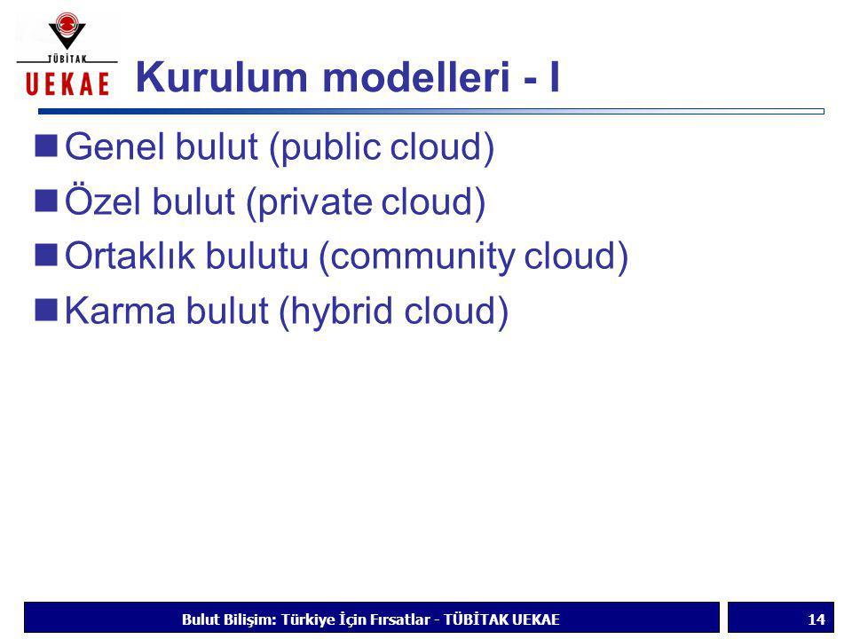 Kurulum modelleri - I  Genel bulut (public cloud)  Özel bulut (private cloud)  Ortaklık bulutu (community cloud)  Karma bulut (hybrid cloud) Bulut