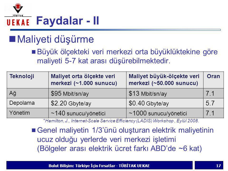 Faydalar - II  Maliyeti düşürme  Büyük ölçekteki veri merkezi orta büyüklüktekine göre maliyeti 5-7 kat arası düşürebilmektedir. * Hamilton, J., Int