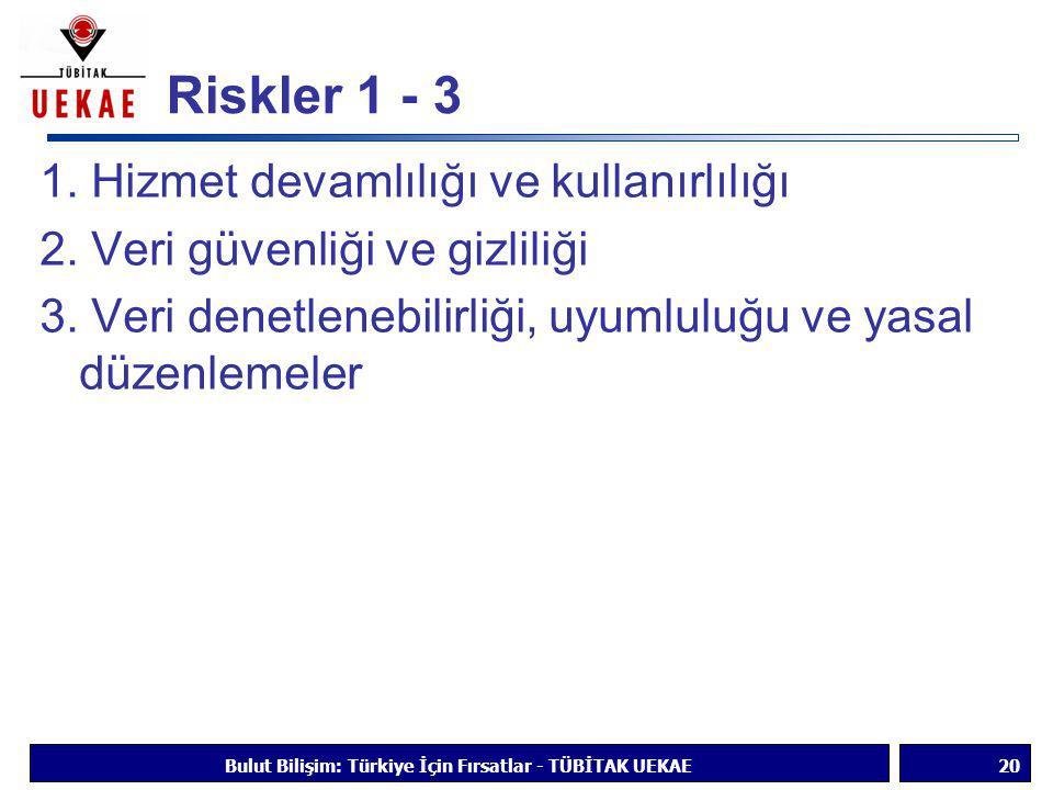 Riskler 1 - 3 1. Hizmet devamlılığı ve kullanırlılığı 2. Veri güvenliği ve gizliliği 3. Veri denetlenebilirliği, uyumluluğu ve yasal düzenlemeler Bulu