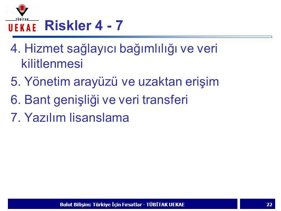 Riskler 4 - 7 4. Hizmet sağlayıcı bağımlılığı ve veri kilitlenmesi 5. Yönetim arayüzü ve uzaktan erişim 6. Bant genişliği ve veri transferi 7. Yazılım