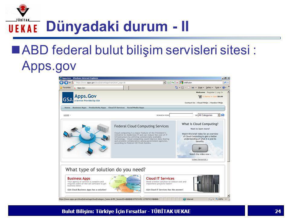 Dünyadaki durum - II  ABD federal bulut bilişim servisleri sitesi : Apps.gov Bulut Bilişim: Türkiye İçin Fırsatlar - TÜBİTAK UEKAE24