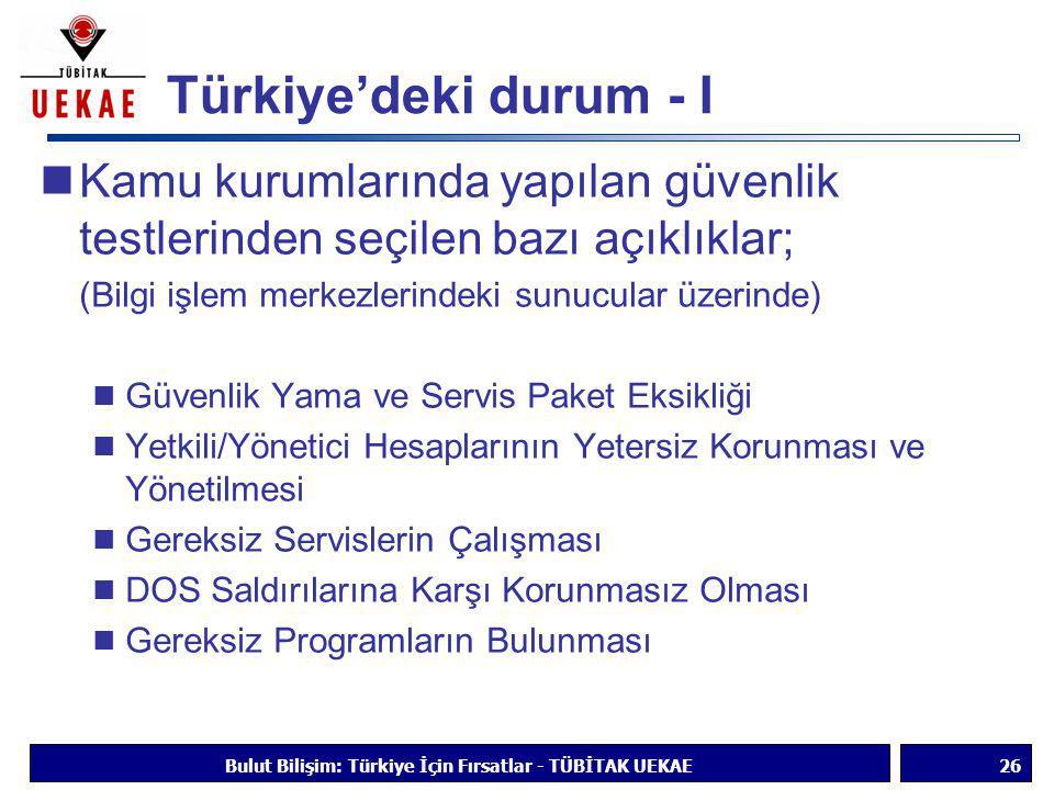 Türkiye'deki durum - I  Kamu kurumlarında yapılan güvenlik testlerinden seçilen bazı açıklıklar; (Bilgi işlem merkezlerindeki sunucular üzerinde)  G