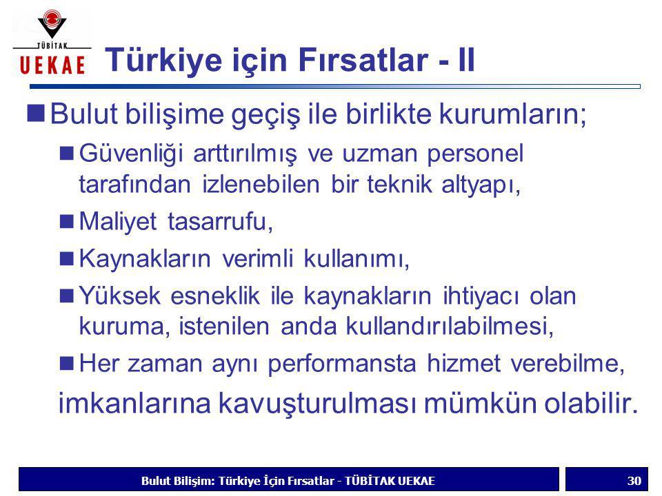 Türkiye için Fırsatlar - II  Bulut bilişime geçiş ile birlikte kurumların;  Güvenliği arttırılmış ve uzman personel tarafından izlenebilen bir tekni