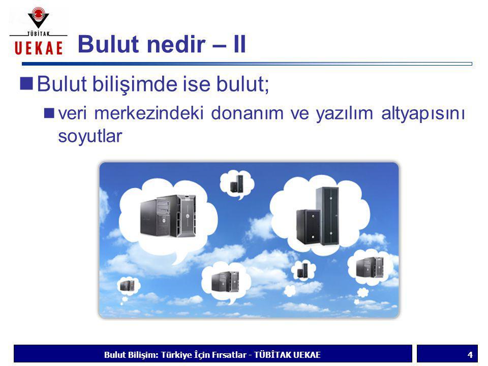 Bulut nedir – II  Bulut bilişimde ise bulut;  veri merkezindeki donanım ve yazılım altyapısını soyutlar Bulut Bilişim: Türkiye İçin Fırsatlar - TÜBİ