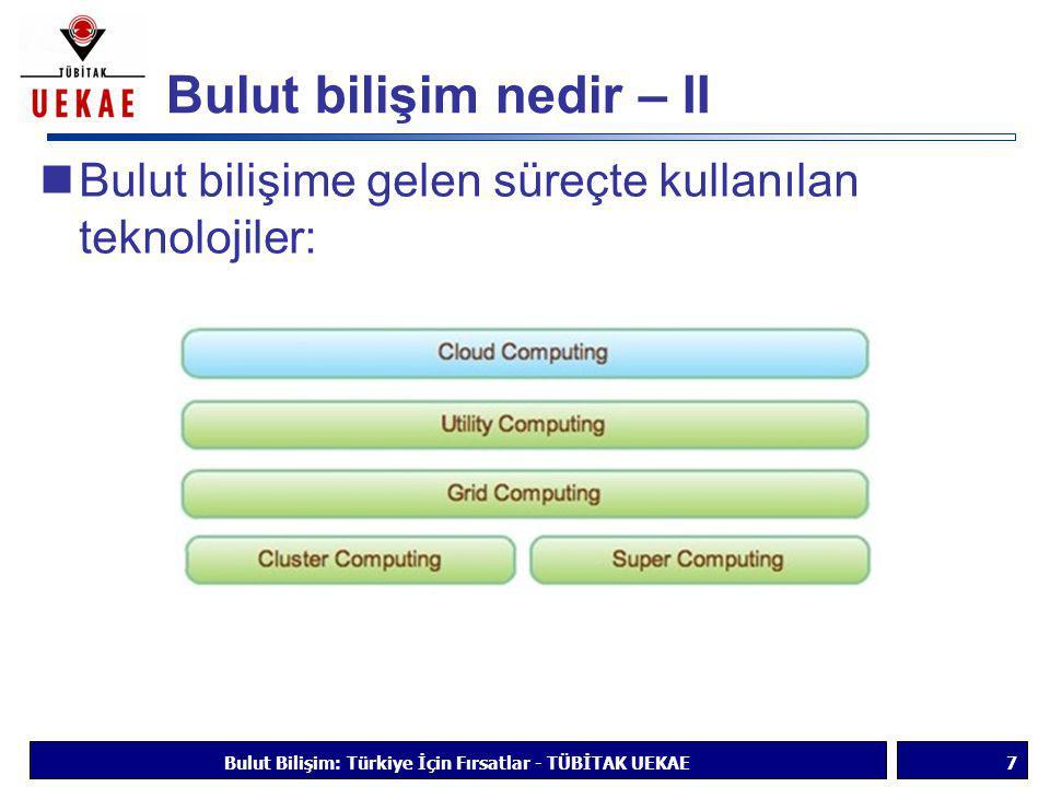 Faydalar - III  Geliştirilmiş birlikte çalışma  Daha iyi güvenilirlik ve güvenlik  Taşınabilirlik  Yönetim kolaylığı  Gerektiğinde büyük işlem gücü  Daha basit cihazlar Bulut Bilişim: Türkiye İçin Fırsatlar - TÜBİTAK UEKAE18