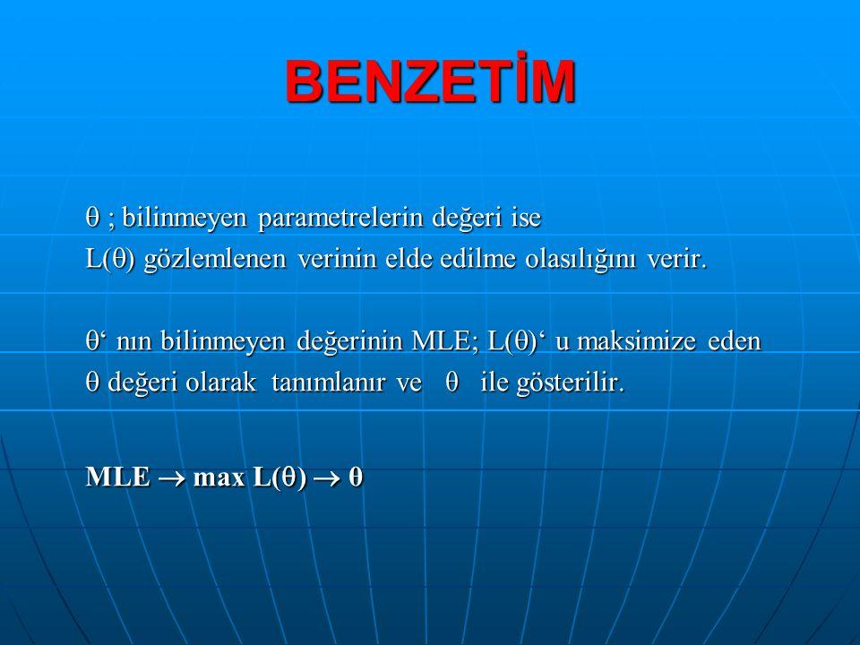  ; bilinmeyen parametrelerin değeri ise L(  ) gözlemlenen verinin elde edilme olasılığını verir.  ' nın bilinmeyen değerinin MLE; L(  )' u maksimi