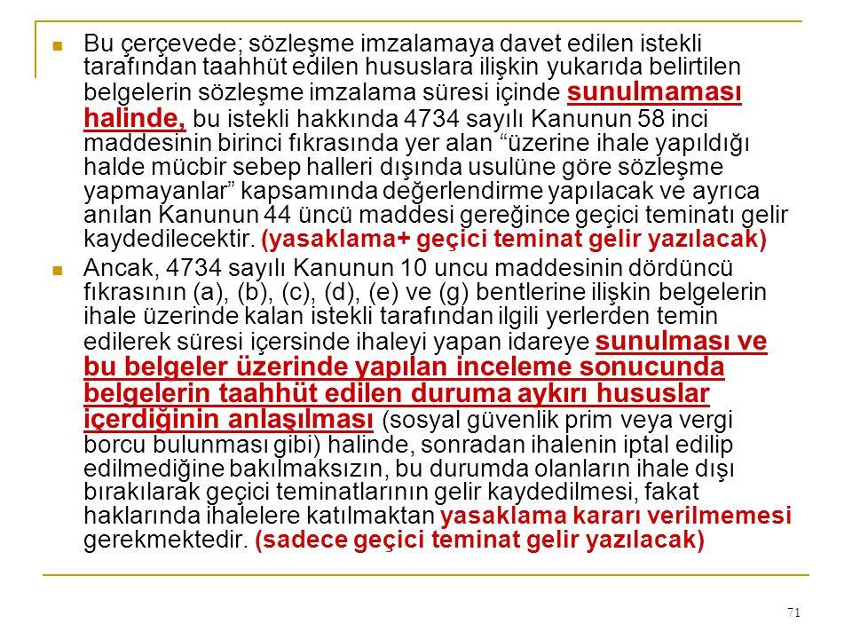 71  Bu çerçevede; sözleşme imzalamaya davet edilen istekli tarafından taahhüt edilen hususlara ilişkin yukarıda belirtilen belgelerin sözleşme imzala