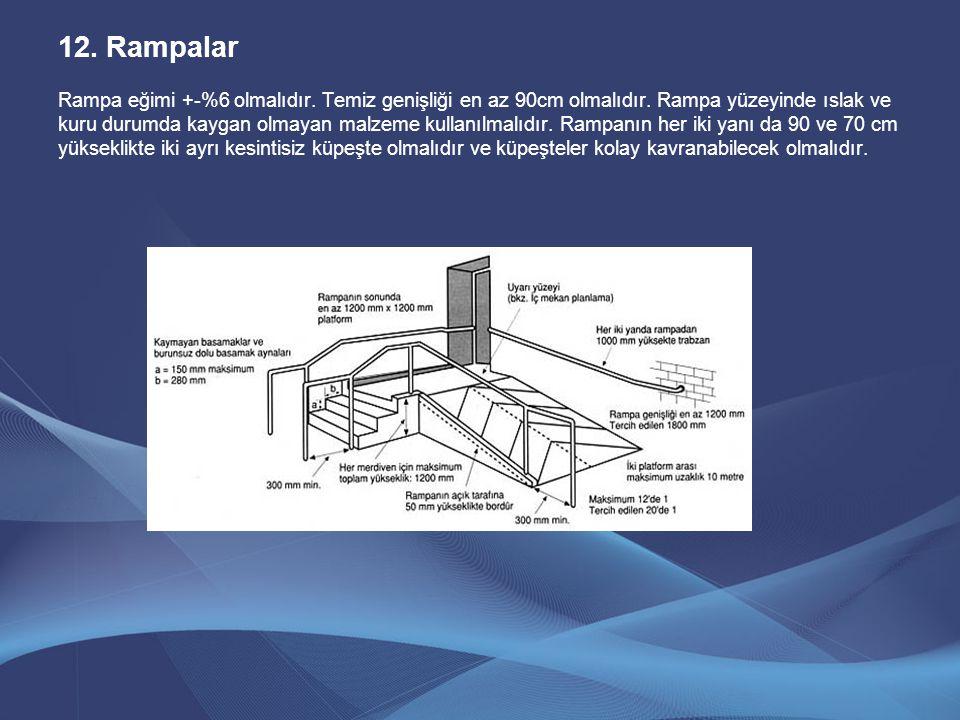 12.Rampalar Rampa eğimi +-%6 olmalıdır. Temiz genişliği en az 90cm olmalıdır. Rampa yüzeyinde ıslak ve kuru durumda kaygan olmayan malzeme kullanılmal
