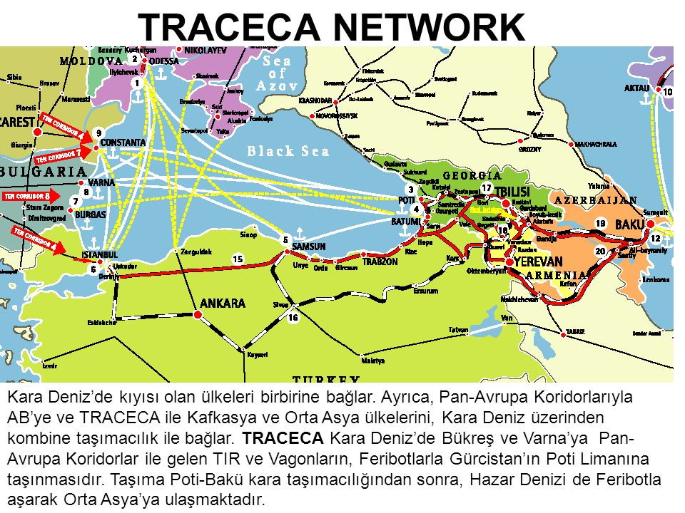 13 TRACECA NETWORK Kara Deniz'de kıyısı olan ülkeleri birbirine bağlar.