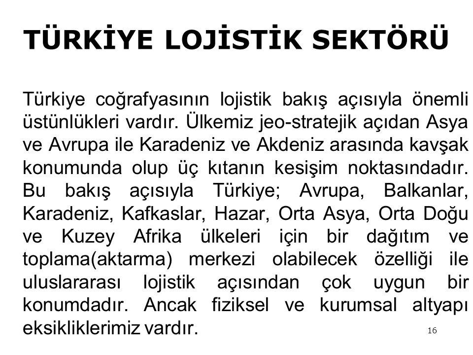 16 Türkiye coğrafyasının lojistik bakış açısıyla önemli üstünlükleri vardır.