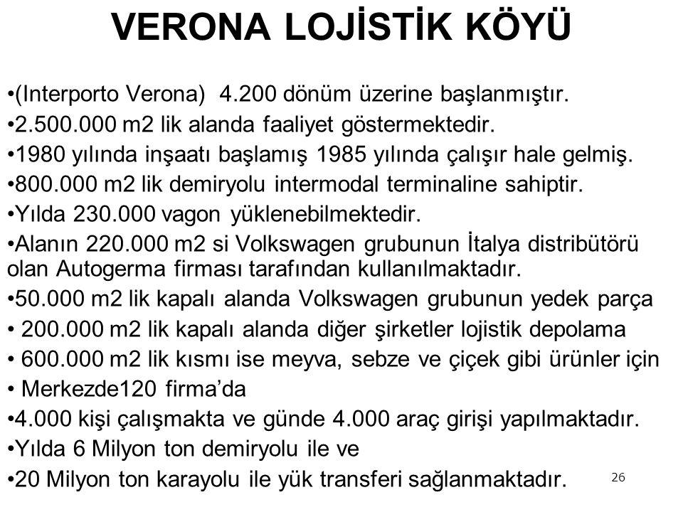 26 VERONA LOJİSTİK KÖYÜ •(Interporto Verona) 4.200 dönüm üzerine başlanmıştır.