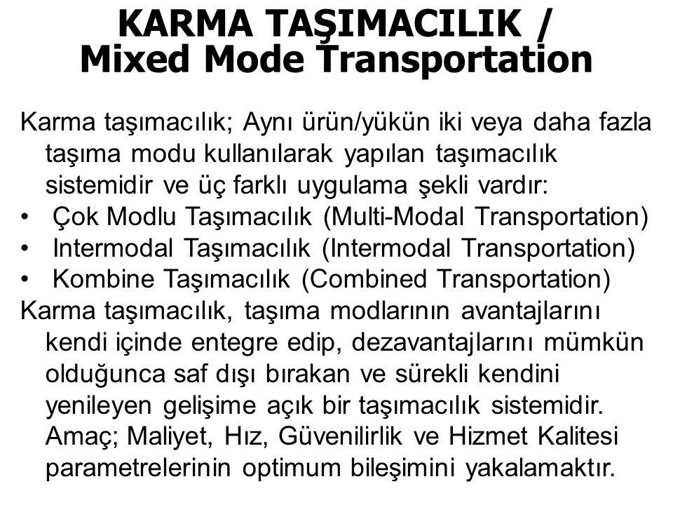 KARMA TAŞIMACILIK / Mixed Mode Transportation Karma taşımacılık; Aynı ürün/yükün iki veya daha fazla taşıma modu kullanılarak yapılan taşımacılık sistemidir ve üç farklı uygulama şekli vardır: • Çok Modlu Taşımacılık (Multi-Modal Transportation) • Intermodal Taşımacılık (Intermodal Transportation) • Kombine Taşımacılık (Combined Transportation) Karma taşımacılık, taşıma modlarının avantajlarını kendi içinde entegre edip, dezavantajlarını mümkün olduğunca saf dışı bırakan ve sürekli kendini yenileyen gelişime açık bir taşımacılık sistemidir.