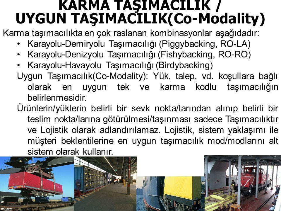 KARMA TAŞIMACILIK / UYGUN TAŞIMACILIK(Co-Modality) Karma taşımacılıkta en çok raslanan kombinasyonlar aşağıdadır: •Karayolu-Demiryolu Taşımacılığı (Piggybacking, RO-LA) •Karayolu-Denizyolu Taşımacılığı (Fishybacking, RO-RO) •Karayolu-Havayolu Taşımacılığı (Birdybacking) Uygun Taşımacılık(Co-Modality): Yük, talep, vd.