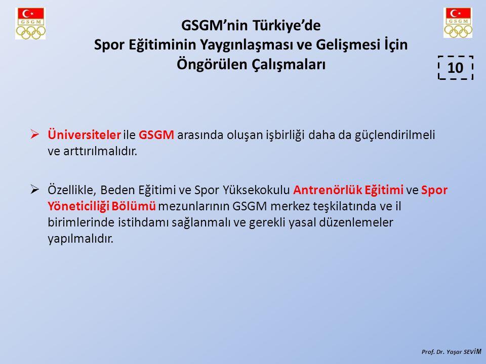 Üniversiteler ile GSGM arasında oluşan işbirliği daha da güçlendirilmeli ve arttırılmalıdır.  Özellikle, Beden Eğitimi ve Spor Yüksekokulu Antrenör