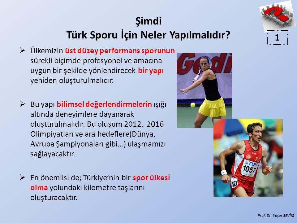 Şimdi Türk Sporu İçin Neler Yapılmalıdır?  Ülkemizin üst düzey performans sporunun sürekli biçimde profesyonel ve amacına uygun bir şekilde yönlendir