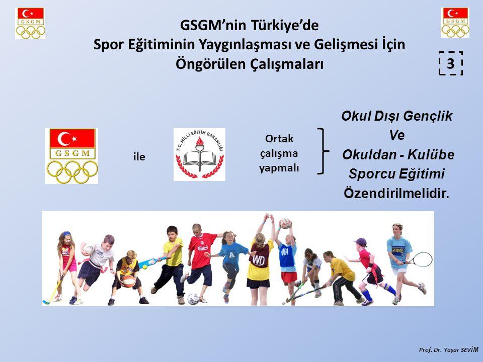 Okul Dışı Gençlik Ve Okuldan - Kulübe Sporcu Eğitimi Özendirilmelidir. 3 ile Ortak çalışma yapmalı GSGM'nin Türkiye'de Spor Eğitiminin Yaygınlaşması v