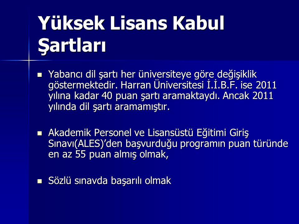 Yüksek Lisans Kabul Şartları  Yabancı dil şartı her üniversiteye göre değişiklik göstermektedir. Harran Üniversitesi İ.İ.B.F. ise 2011 yılına kadar 4