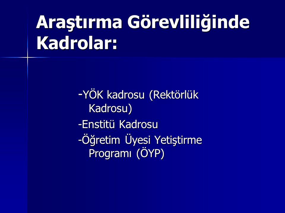 Araştırma Görevliliğinde Kadrolar: - YÖK kadrosu (Rektörlük Kadrosu) -Enstitü Kadrosu -Öğretim Üyesi Yetiştirme Programı (ÖYP)