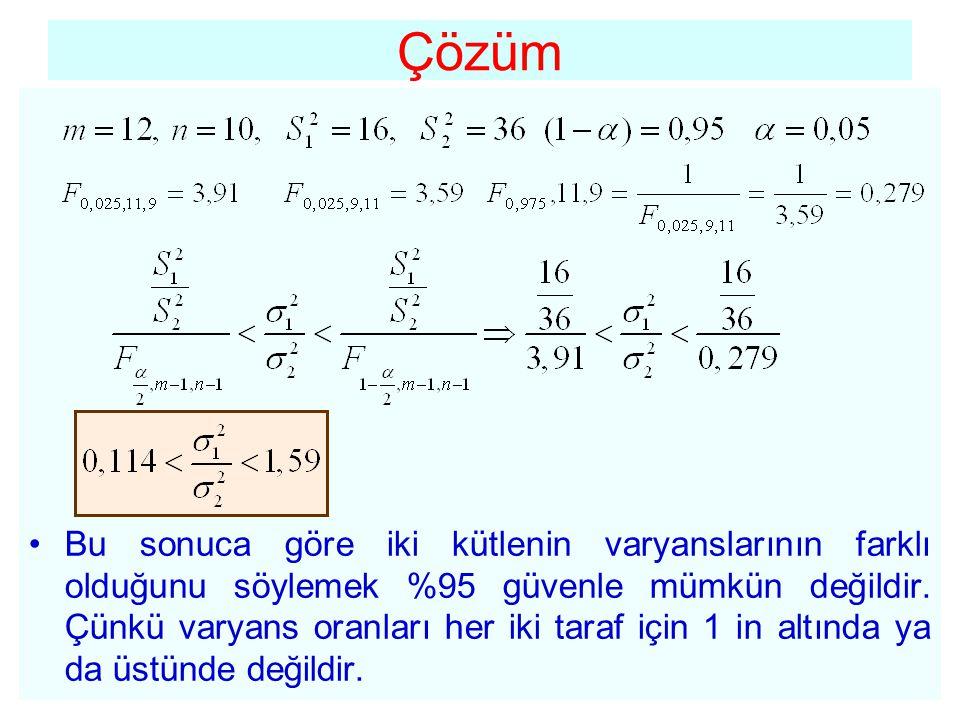 Çözüm •Bu sonuca göre iki kütlenin varyanslarının farklı olduğunu söylemek %95 güvenle mümkün değildir. Çünkü varyans oranları her iki taraf için 1 in