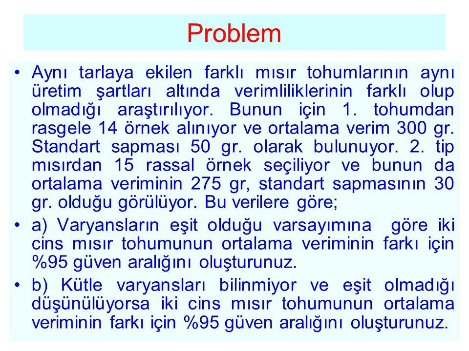Çözüm •a) Varyansların eşit kabul edildiğini dikkate alarak iki kütle ortalamasının (1-  ) güven aralığı şöyle oluşturulur.