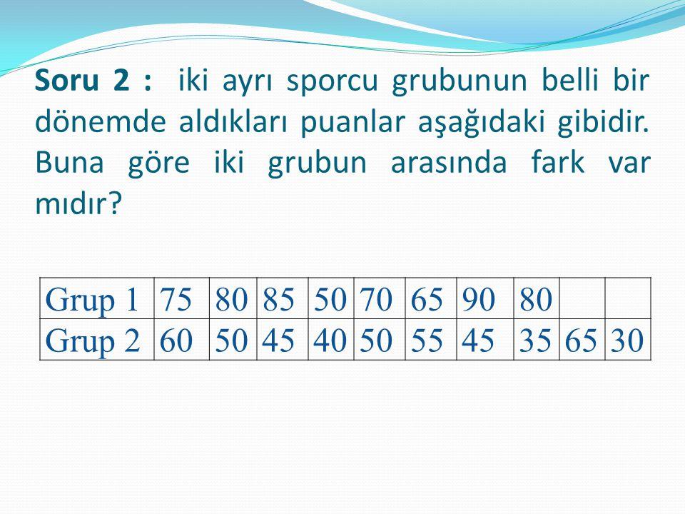 Soru 2 : iki ayrı sporcu grubunun belli bir dönemde aldıkları puanlar aşağıdaki gibidir. Buna göre iki grubun arasında fark var mıdır? Grup 1758085507