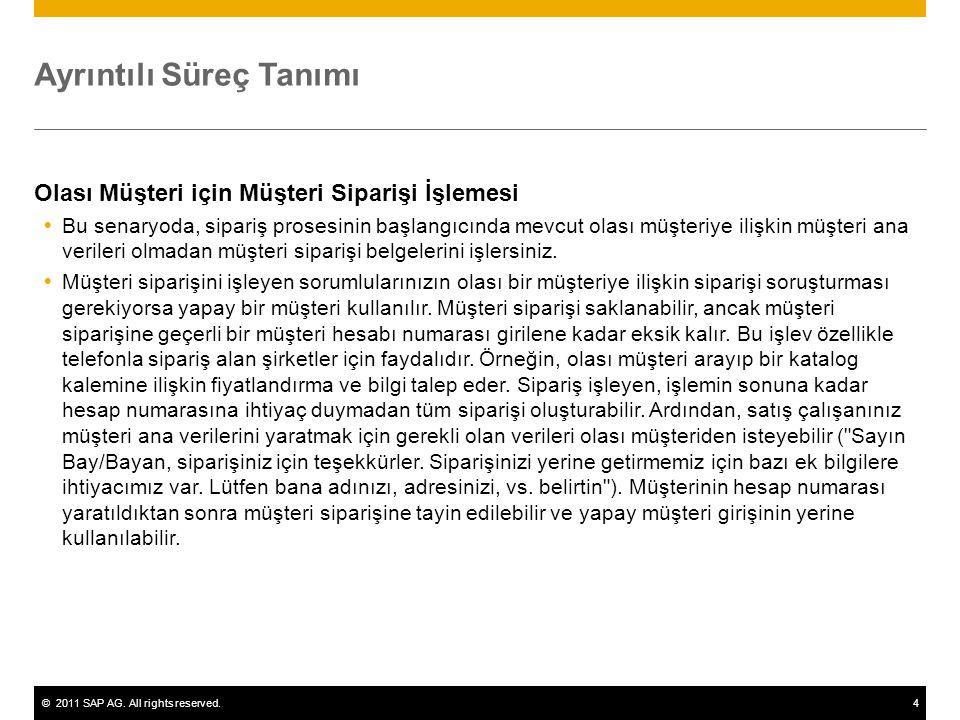 ©2011 SAP AG. All rights reserved.4 Ayrıntılı Süreç Tanımı Olası Müşteri için Müşteri Siparişi İşlemesi  Bu senaryoda, sipariş prosesinin başlangıcın